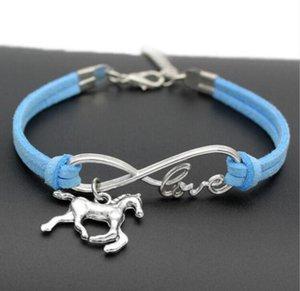 Love 8 Fashion Jewelry Unicorn antiguo de plata / caballo Charm Bracelet Joyería Mixta Terciopelo Cuerda Infinito Amor 8 Brazaletes - 80