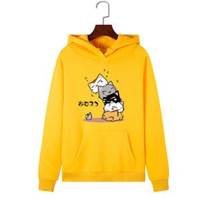 SINGRAIN Donne Kawaii Cat Felpe Plus Size animale autunno Felpa con cappuccio caldo Moda Streetwear inverno Cute Cartoon Hoddies T191118