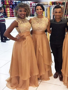 Gold Lace And Chiffon Long Bridesmaid Dresses For Wedding Sleeveless Maid Of Honor Gowns South African Bridesmaid Dress