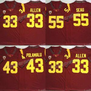 NCAA 2020 USC Trojans Red Jersey 43 Troy Polamalu 55 младший SAUU 33 Marcus Allen College Football Jerse
