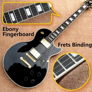 ¡Envío gratis! Wholesale Top Calidad LP Tienda personalizada Color Black Color Electric Guitar Guitar Ebony Fretboard Encuadernación Frascos de hardware Golden.