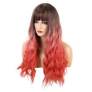 Brown Coral Ombre Long Curly Wavy Wig, 24 Inches Hair Replacements Wigs with Flat Bangs, Synthetic Hair Wig, Natural Looking