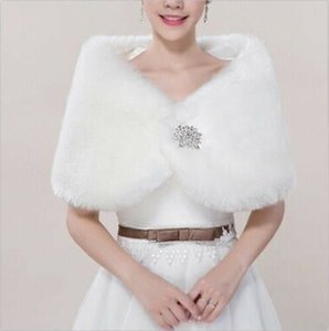 Winter Bridal Wedding Faux Fur Shawl ivory Wrap Women Shrug Cloak Party Cape