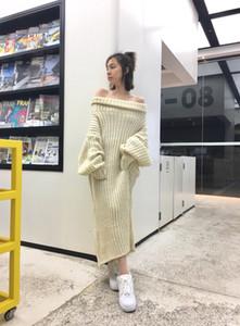 2020 Un vestido de marfil Línea suéter de las mujeres de la vendimia a largo suéter flojo de gran tamaño vestidos de lana larga del cuello alto más el tamaño de primavera ropa de sport