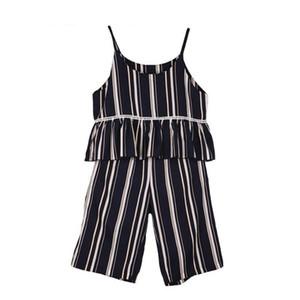 Humor Bär Neue Sommer Baby Kleidung Gestreiften Chiffon Halfter Top + Geerntete Hosen zweiteilige Weibliche Baby Mädchen Chiffon Kleidungsanzug