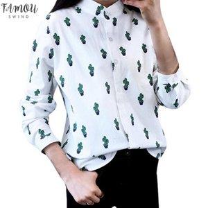 Girls Women Casual Long Sleeve T Shirts Sweet Cute Cactus Printed Mandarin Collar Tops White Drop Shipping
