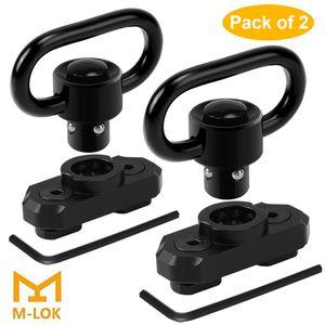 "MLOK QD Sling Mount Sling Swivels, 2 Pack 1.25"" Quick Detach Push Button QD Sling Swivels Mount Adaptor Bases for M-Lok HandGuard"