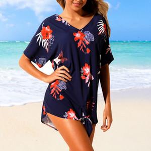 de las mujeres flor de la impresión mini vestido atractivo del verano floja ocasional de la manga corta Tops cuello redondo super mini vestido corto