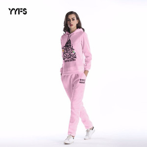 womens designer Two-piece suit Christmas tree print loose hooded sweater pants women
