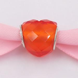 """""""Authentic Forma 925 Silver Beads Of Love Charm, Arancione Cubic Zirconia fascini Adatto monili europei di stile Pandora Bracciali Collana C"""