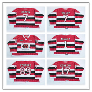 Personalizzato CHL Ottawa 67s Jersey Hockey 1 Petr Mrázek 17 Travis Konecny 89 Logan Couture 7 Potvin Wilson cucito OHL CCM Hockey maglie Rosso
