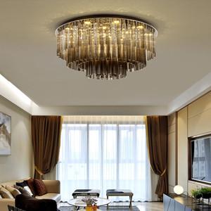 Nuevas luces de techo de araña de cristal moderno de montaje enrojecimiento de lámparas de cristal ahumado iluminación Lámpara de techo de LED redondo para sala de estar dormitorio