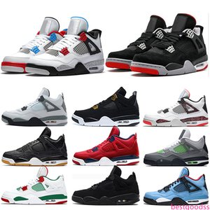 Designer 4 New Bred 4s Mens Basketball Shoes What the Cool Grey White Cement Royalty Men Sneakers Sports Size 7-13