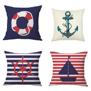 Throw Pillow Case 18 x 18 inches New Living Series Decorative Anchor life buoy steering wheel cushion covers