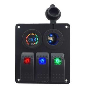 Nome: Impermeabile 3 Gang 3-Color Rocker Switch Panel DC12V voltmetro di potere del caricatore Presa per Marine Boat automobile rv Vehicles