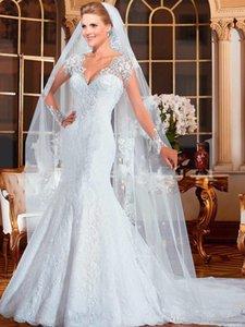 2019 Новый элегантный V-образного вырез Полного рукава шнурок длина до пола Свадебных платьев Zipper суд Поезд Бисероплетение Русалка труба Vestidos De Novia 151