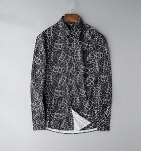 New Hot European Size 2019 Men Top Business And Leisure Fashion Shirts Slim Long Sleeve Shirt Printing Medusa Crime
