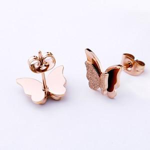 Joyería de lujo de diseño esmerilado de oro rosa de la mariposa Pendientes de la vendimia para las mujeres Pendientes de regalo de las muchachas de la joyería