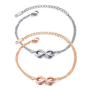 Armbänder für die Band Edelstahl Titan Frauen stieg Handkette der Frauen Schmuck Gold Infinite 8 Wörter für Freundinnen Geschenke