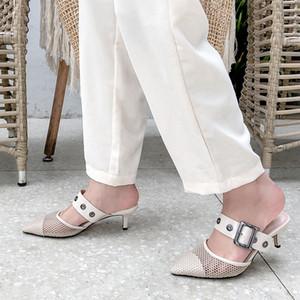Chaude Vente-En Gros Designer Blanc Noir Mesh Slingback Chaton Talons Pompes Sandale Mocassins Femme Sandales Talon 5cm US3.5-10.5