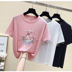 GGRIGHT blanc Cartoon T-shirt coton pour femmes d'été Hauts T-shirt à manches courtes T-shirt rose perlage Femme 2020 T-shirt Taille plus