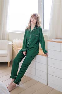 Pijamas Set solto lapela manga comprida Pijamas Calças cor sólida Casual Set Ladies Primavera Outono
