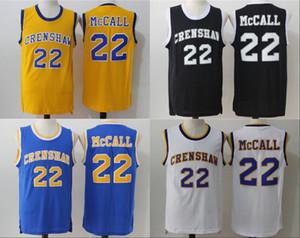 Crenshaw 22 Quincy McCall Jersey Filme Flint Tropics Semi Pro Quincy McCall Basketball Jerseys Esporte respirável Amarelo Branco Azul Preto