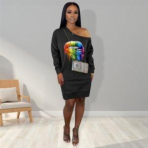 Mulheres manga comprida e Knee Vestidos 2020 ocasional das senhoras Lip Impresso ombro Dew One-peças fêmea Outfit Joelho de comprimento vestido de pano E22702