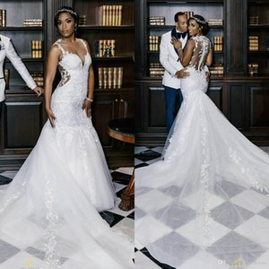 South African Mermiad Wedding Dresses Plunging Neck Lace Applique Sexy Robes De Mariée Sweep Train Custom Made Country Wedding Dress
