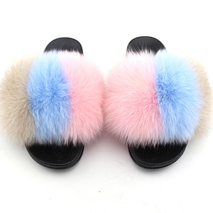 Fluffy real Fur Slides Mulheres Fur chinelos Feminino Indoor Virar Casual distorcido bonito Slides Natural Casa de pelúcia Shoes TX01