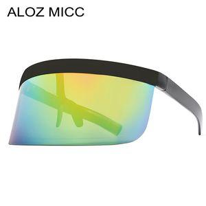 ALOZ MICC Luxury Big Frame Shield Visor Sunglasses Men 2019 Diseñador de la marca Sexy de gran tamaño Retro Espejo Gafas de sol para mujeres Gafas A402
