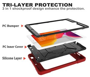 E Ipad 7th Generation For 10.2 Inch (2019) 360 Degree Rotation Kickstand 3 Tri-layer Protection Case Cover With Shoulder Hand Strap