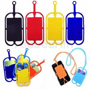 حامل سيليكون الحبل قلادة بطاقة الرافعة الشريط المفاتيح لفون الهاتف سامسونج هواوي الجوال العالمي
