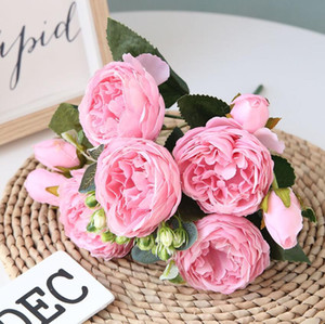 Artificial rose peônia flores de seda diy ramo 5 cabeças peônias falso flor flores do falso casamento palco backdrop decoração segurando flores