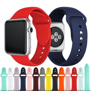 Silicone Sport Bands Replacement For Apple Watch Band Wrist Strap With Adapters Accessories 38mm 40mm 42mm 44mm Watchstrap 50pcs