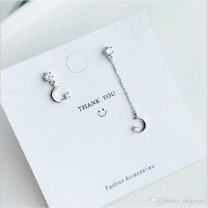Asymmetrical Star Moon Drop Earrings 925 Sterling Silver Sweet Long Tassel Earrings for Women Ear Jewelry Small Gift