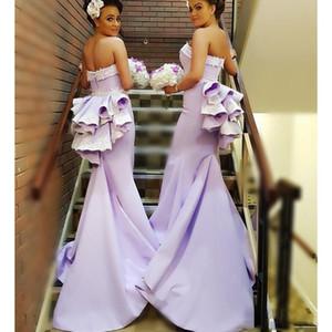Lilac Longues robes de demoiselle d'honneur en dentelle Approche de la dentelle Appliques Ruffles Mermaid Maid of Honore Robes pour mariage Robe de demoiselle d'honneur