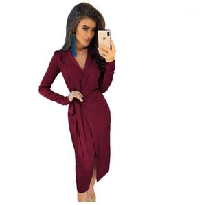 Mulheres New Desinger Vestido justo Sólidos Divisão Sashes Vestidoes fêmeas vestidos de festa