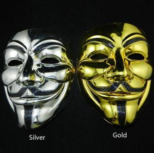 Fiesta de Halloween 7 Estilo Vendetta V palabra Máscara Traje Guy Fawkes Anónimo Máscaras de Halloween Fantasía Cosplay Máscara de baile callejero Envío gratis