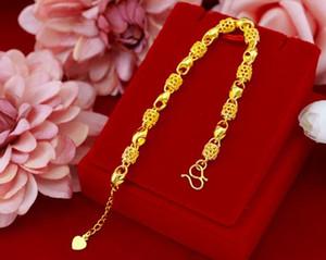 لا تتلاشى مع الزمن موضة الذهب لوحة سلسلة أساور للنساء مجوهرات مطلية بالذهب سلسلة ربط 22.5CM لسوار بديعة المرأة الجودة مع مربع