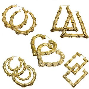 Fashion Jewelry Large Hoops Earrings for Women Iron Sheet Gold Plated Multiple Shapes Bamboo Big Hoop Ear Rings Manufacturers Cheap Price