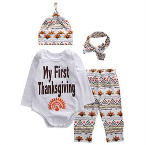 4pcs tenues ensemble nouveau-né enfant en bas âge enfants bébé garçon vêtements barboteuse tops + pantalons bébé garçon vêtements ensemble nouveau-né thanksgiving