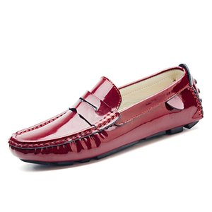 men penny loafers patent leather moccasins burgundy size 47 46 45 driving shoes men 11 10.5 10 9.5 leather loafers white