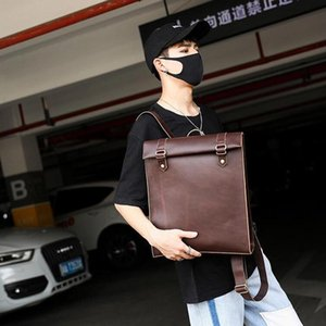 Factory wholesale men handbag new retro crazy horse leather backpack simple leather student backpack men and women leather couple backpack