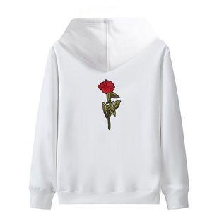 Hombres Mujeres Impreso Hoodies Streetwear simple Rose bordado sudaderas con capucha de Hip Hop collge amantes de los pares con capucha sudor Homme