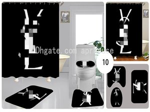 방수 커튼 높은 품질 변기 커버 설정 3piece 레트로 욕실 액세서리 커튼 주문 제작 클래식 편지 인쇄 샤워