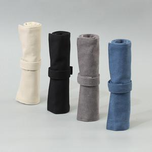 Pen Canvas Vintage Bolsas Lápis Enrole saco de armazenamento para homens e mulheres estudantes Caso papelaria Retro