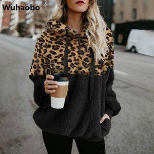 Wuhaobo Sonbahar Kış Tişörtü Kadınlar Kapşonlu Baskı Leopar Kapüşonlular Casual Fermuar Splice İpli Kazak Hoodie Moda Üst
