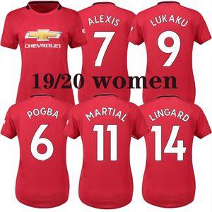 2019 Frauen Fußball Trikot # 6 POGBA Red Home Fußball Trikots 2019 # 9 LUKAKU entfernt schwarz Trikots # 19 RASHFORD Mädchen Fußball Trikots