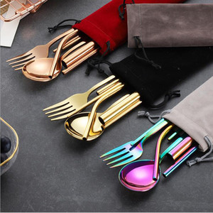 Colorful 304 Stainless Steel Straw Spoon Chopsticks Cleaning Brush With Pounch Environmental Protection Portable Outdoor Metal Tableware Set